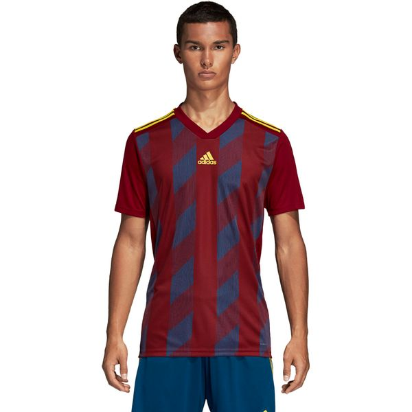 Adidas Striped 19 Shirt Korte Mouw Kinderen - Bordeaux / Fluogeel