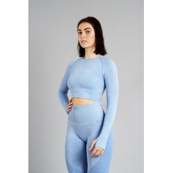 Aesthetic Wolf Pulse Seamless Crop Top Dames - Blue