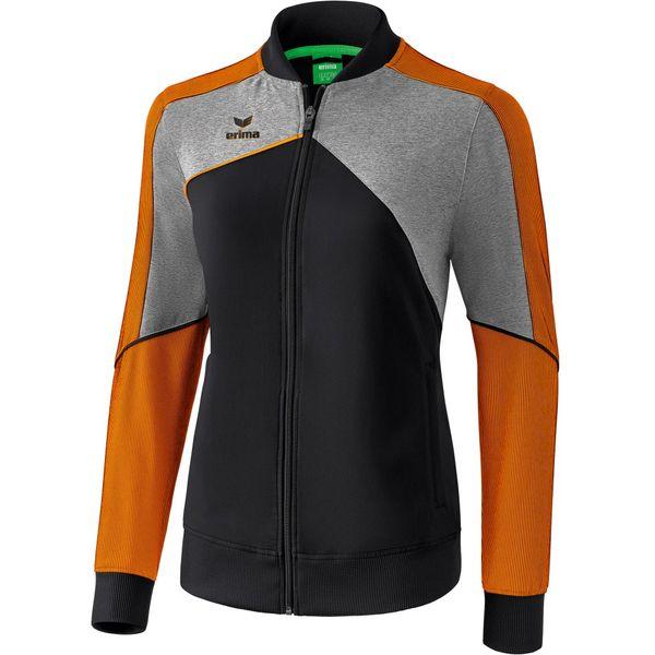 Erima Premium One 2.0 Trainingsvest Dames - Zwart / Grey Melange / Neon Oranje