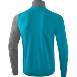 Voorvertoning: Erima 5-C Polyesterjack Kinderen - Oriental Blue Melange / Grey Melange / Wit