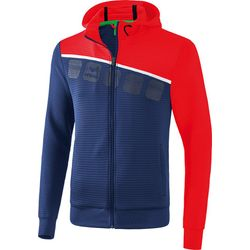 Erima 5-C Trainingsjack Met Capuchon Heren - New Navy / Rood / Wit