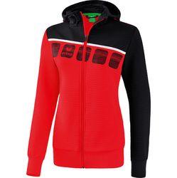 Erima 5-C Veste D'entraînement À Capuche Femmes - Rouge / Noir / Blanc