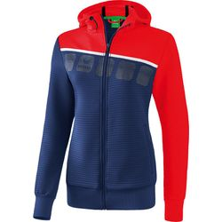Erima 5-C Trainingsjack Met Capuchon Dames - New Navy / Rood / Wit
