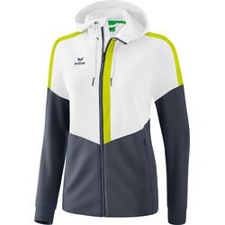 Erima Squad Trainingsjack Met Capuchon Dames - Wit / Silver Grey / Lime