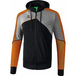Erima Premium One 2.0 Trainingsjack Met Capuchon Heren - Zwart / Grey Melange / Neon Oranje