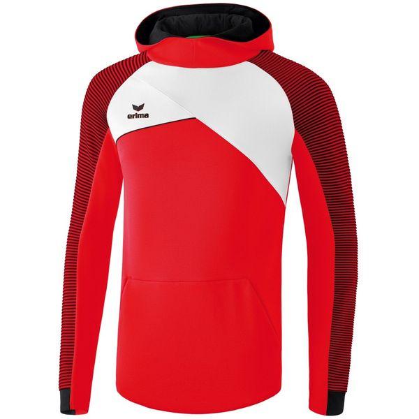 Erima Premium One 2.0 Sweatshirt Met Capuchon - Rood / Wit / Zwart