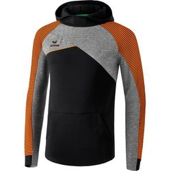 Erima Premium One 2.0 Sweatshirt Met Capuchon Heren - Zwart / Grey Melange / Neon Oranje