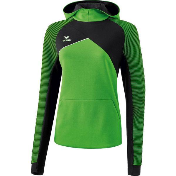 Erima Premium One 2.0 Sweatshirt Met Capuchon Dames - Green / Zwart / Wit