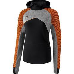 Erima Premium One 2.0 Sweatshirt Met Capuchon Dames - Zwart / Grey Melange / Neon Oranje