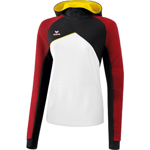Erima Premium One 2.0 Sweatshirt Met Capuchon Dames - Wit / Zwart / Rood / Geel