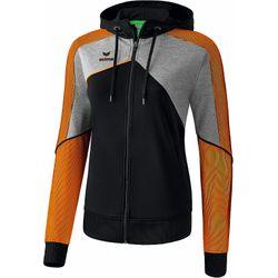 Erima Premium One 2.0 Trainingsjack Met Capuchon Dames - Zwart / Grey Melange / Neon Oranje