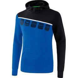 Erima 5-C Sweatshirt Met Capuchon Kinderen - New Royal / Zwart / Wit