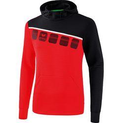 Erima 5-C Sweatshirt Met Capuchon Heren - Rood / Zwart / Wit