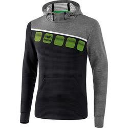 Erima 5-C Sweatshirt Met Capuchon Heren - Zwart / Grey Melange / Wit