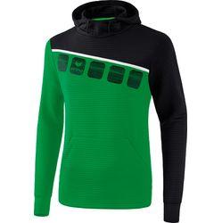 Erima 5-C Sweatshirt Met Capuchon Heren - Smaragd / Zwart / Wit