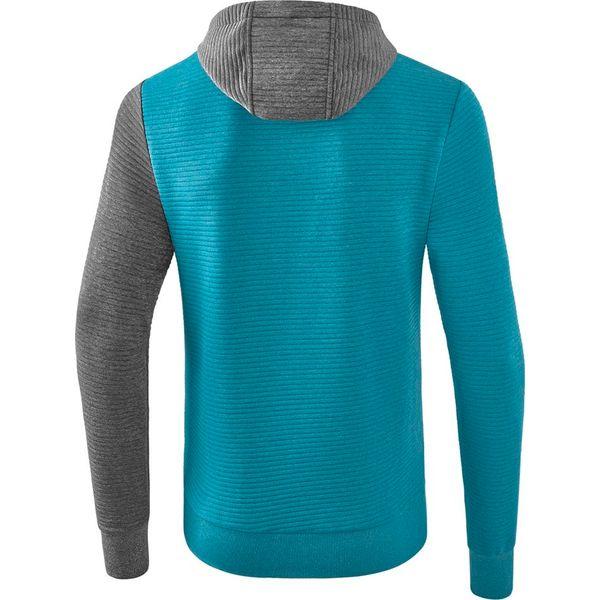 Erima 5-C Sweatshirt Met Capuchon - Oriental Blue Melange / Grey Melange / Wit