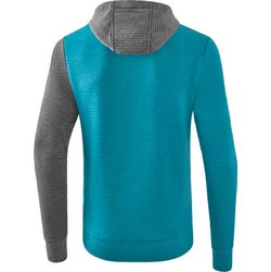Voorvertoning: Erima 5-C Sweatshirt Met Capuchon - Oriental Blue Melange / Grey Melange / Wit