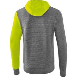 Voorvertoning: Erima 5-C Sweatshirt Met Capuchon Kinderen - Grey Melange / Lime Pop / Zwart