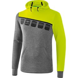 Erima 5-C Sweatshirt Met Capuchon Heren - Grey Melange / Lime Pop / Zwart