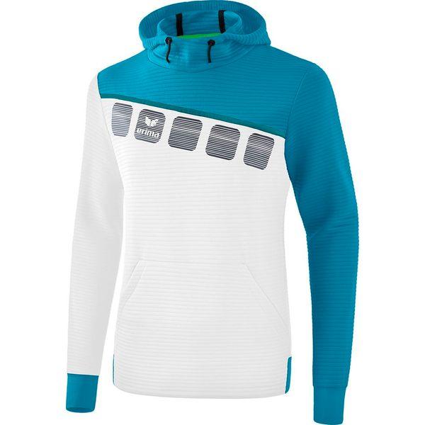 Erima 5-C Sweatshirt Met Capuchon - Wit / Oriental Blue / Colonial Blue