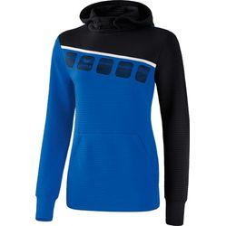 Erima 5-C Sweatshirt Met Capuchon Dames - New Royal / Zwart / Wit