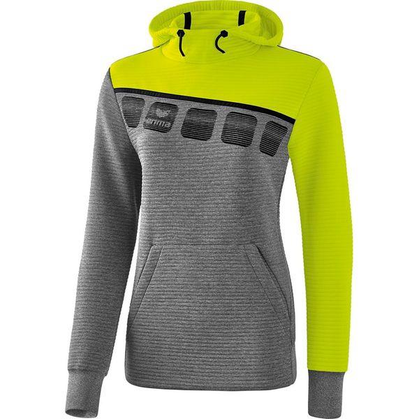 Erima 5-C Sweatshirt Met Capuchon Dames - Grey Melange / Lime Pop / Zwart