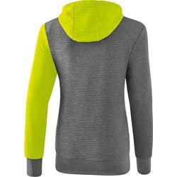 Voorvertoning: Erima 5-C Sweatshirt Met Capuchon Dames - Grey Melange / Lime Pop / Zwart