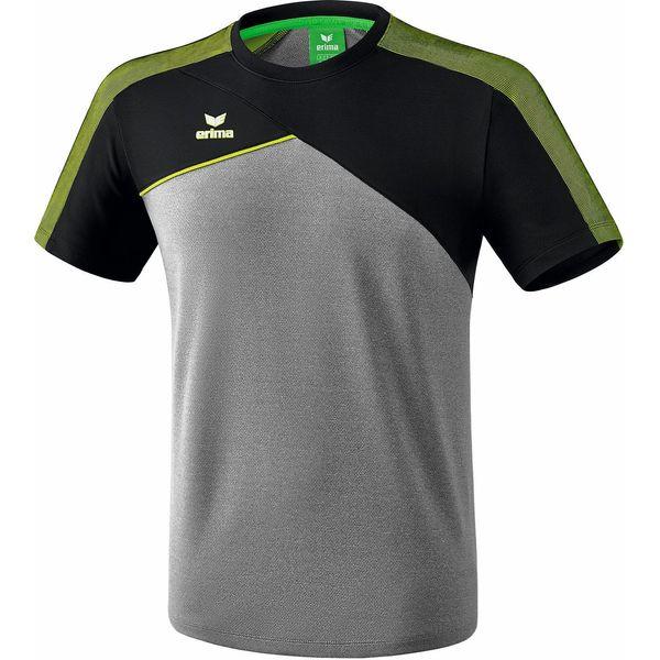 Erima Premium One 2.0 T-Shirt Kinderen - Grey Melange / Zwart / Lime Pop