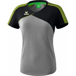 Erima Premium One 2.0 T-Shirt Dames - Grey Melange / Zwart / Lime Pop