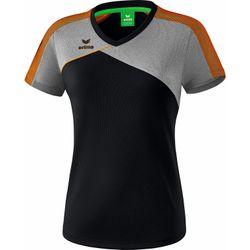 Erima Premium One 2.0 T-Shirt Dames - Zwart / Grey Melange / Neon Oranje