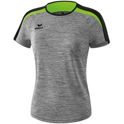 Erima Liga 2.0 T-Shirt Dames - Grey Melange / Zwart / Green Gecko
