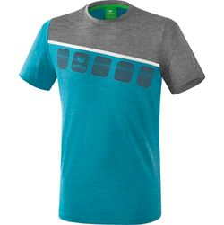 Erima 5-C T-Shirt Enfants - Oriental Blue Melange / Grey Melange / Blanc