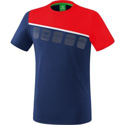 Erima 5-C T-Shirt Heren - New Navy / Rood / Wit