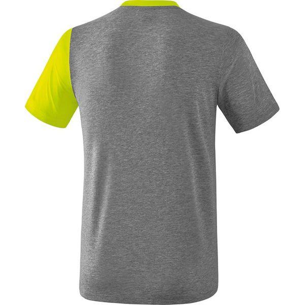 Erima 5-C T-Shirt - Grey Melange / Lime Pop / Zwart
