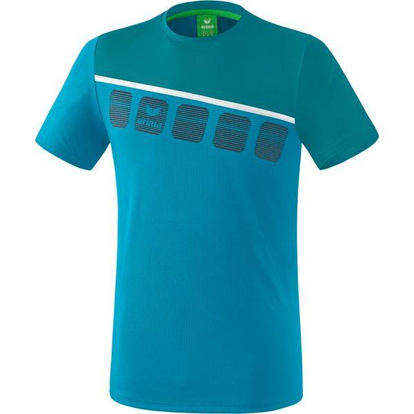 Erima 5-C T-Shirt Kinderen - Colonial Blue / Wit / Oriental Blue