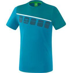 Erima 5-C T-Shirt Heren - Colonial Blue / Wit / Oriental Blue