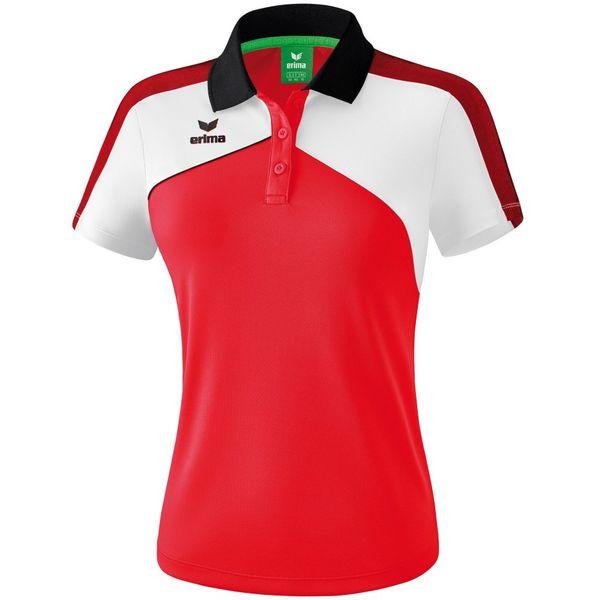 Erima Premium One 2.0 Polo Dames - Rood / Wit / Zwart