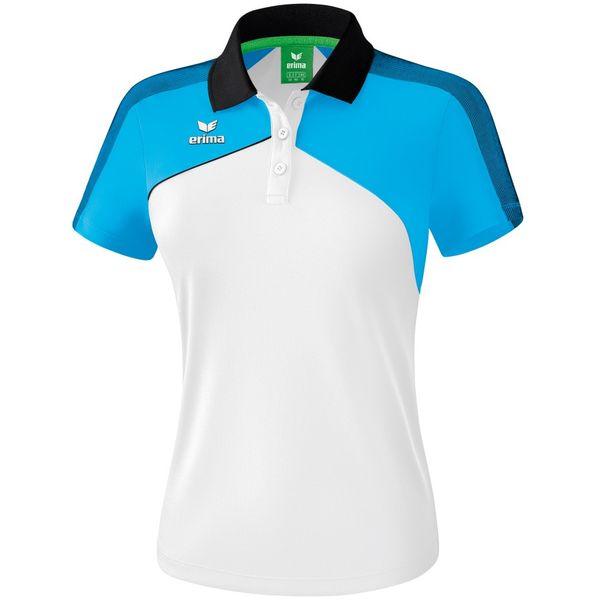 Erima Premium One 2.0 Polo Dames - Wit / Curacao / Zwart