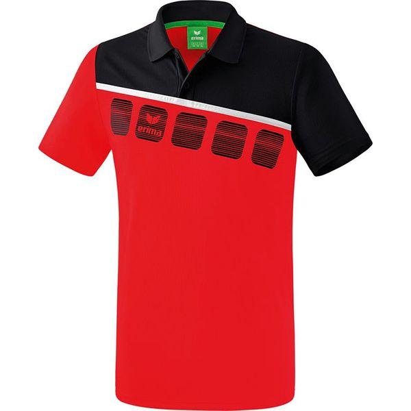Erima 5-C Polo - Rood / Zwart / Wit