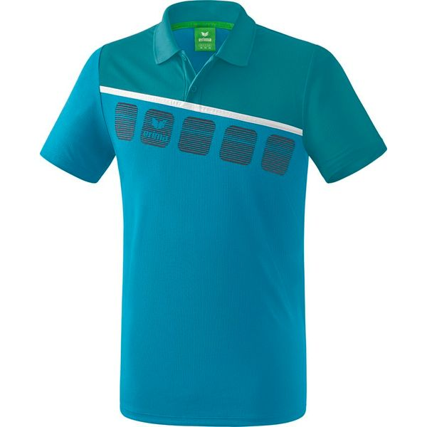 Erima 5-C Polo - Oriental Blue / Colonial Blue / Wit