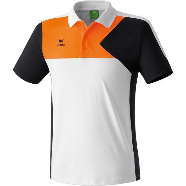 Erima Premium One Polo Heren - Wit / Zwart / Neon Oranje