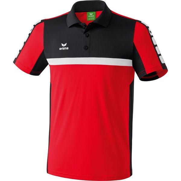 Erima 5-Cubes Polo Heren - Rood / Zwart / Wit