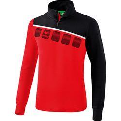 Erima 5-C Sweat D'entraînement 1/2 Zip Hommes - Rouge / Noir / Blanc
