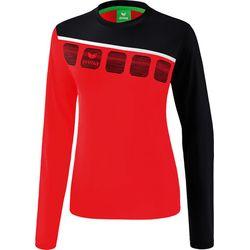 Erima 5-C Longsleeve Dames - Rood / Zwart / Wit