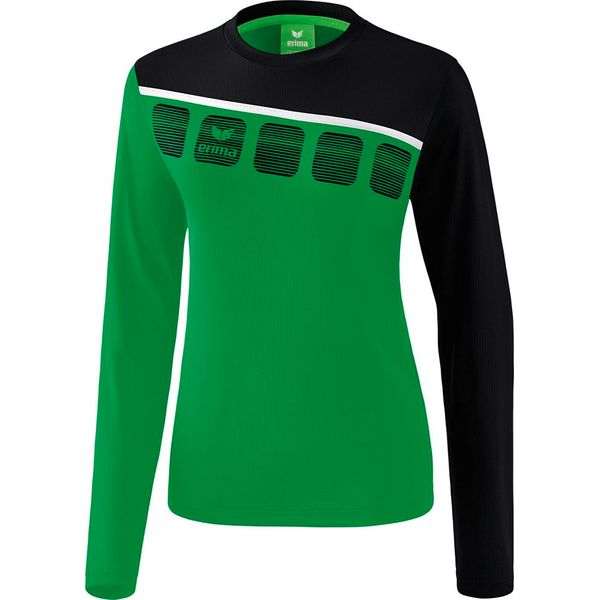 Erima 5-C Longsleeve Dames - Smaragd / Zwart / Wit