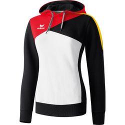 Erima Premium One Sweatshirt Met Capuchon Dames - Wit / Zwart / Rood / Geel