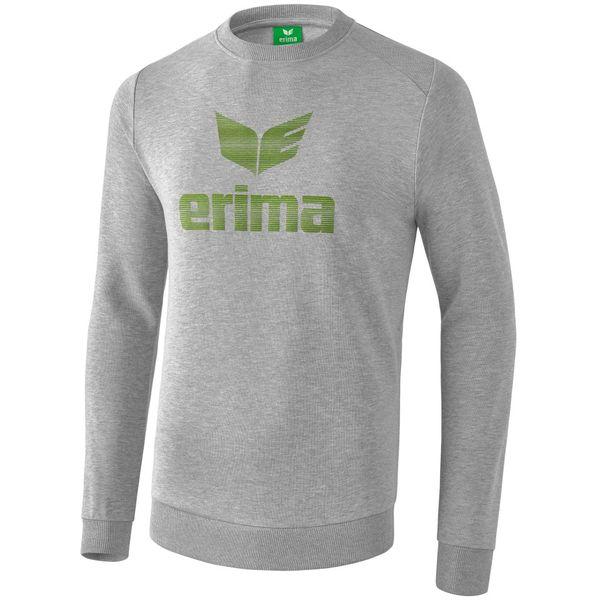 Erima Essential Sweatshirt Kinderen - Licht Grey Melange / Twist Of Lime