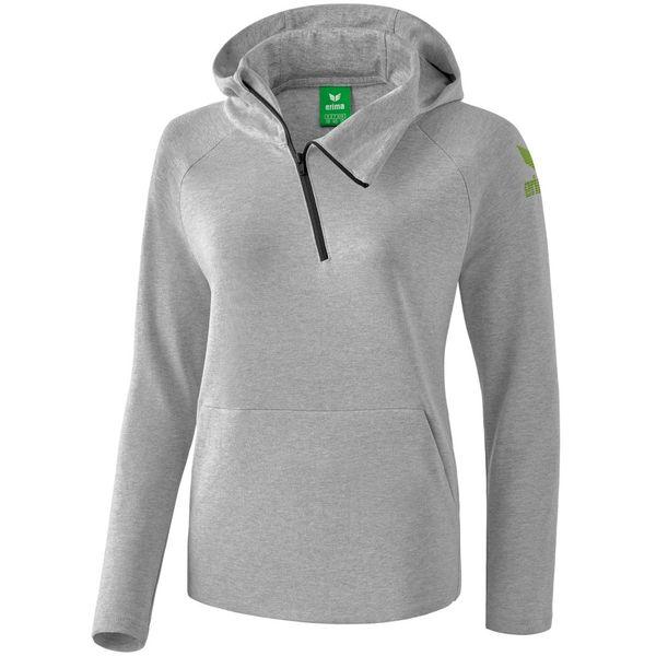 Erima Essential Sweatshirt Met Capuchon Dames - Licht Grey Melange / Twist Of Lime