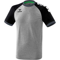 Erima Zenari 3.0 Shirt Korte Mouw Heren - Grey Melange / Zwart / Donkergrijs