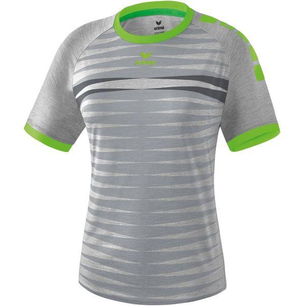Erima Ferrara 2.0 Shirt Korte Mouw Dames - Grijs Melange / Green Gecco